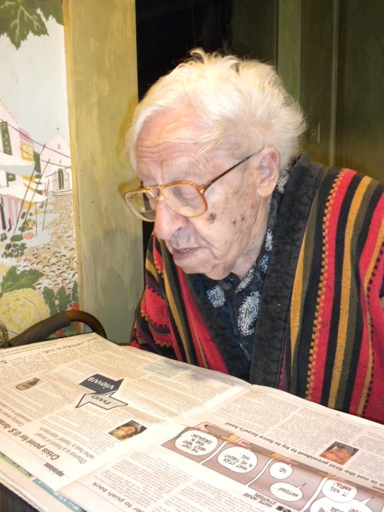 Grandpa reading the paper